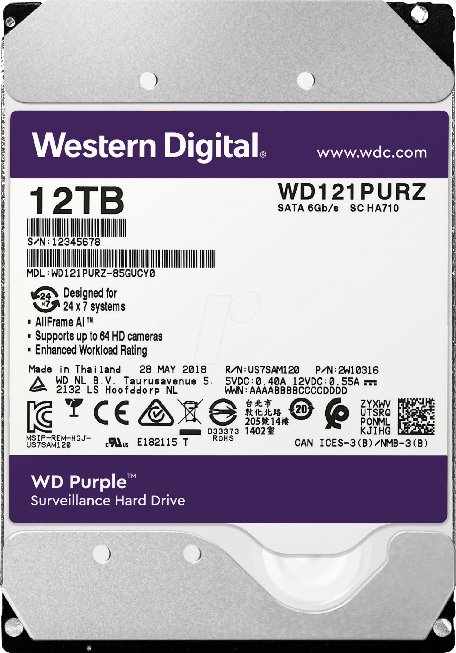 HDD 12000 GB (12 TB) SATA-III Purple (WD121PURZ)